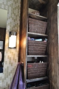 Storage was very important so we got these great baskets and made his and hers shelves.