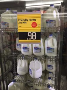 Milk on sale for 98 cents in Iowa. Photo courtesy of Rhonda Bode Stoltzfus